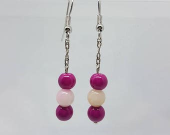 Earrings triple pearls