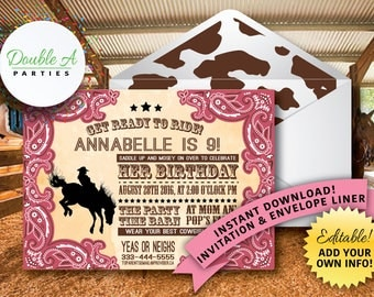 Cowgirl Birthday Invitation - Horse Birthday Invitation, Western Birthday Invitation, Pink Cowgirl Invitation, Cowprint, Editable Invitation