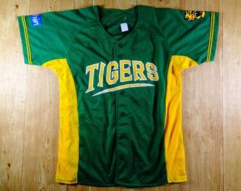 ON SALE! Vintage Hanshin Tigers Joshin Button Up Japan Baseball Jersey