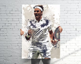 Roger Federer Tennis - Sports Art Print Poster - Watercolor Abstract Paint Splash - Kids Decor - Sports Decor - Man Cave