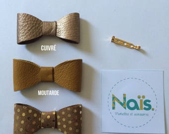 Copper, mustard or camel leather bow brooch