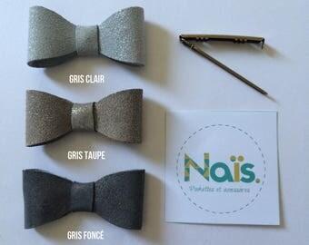 Grey leather bow hair clip
