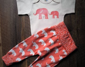 organic cotton knit wiggly pants / organic knit leggings / elephant design / onesie with elephant / infant outfit / toddler outfit
