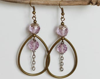 Pink Pearl Earrings, sterling silver and bronze