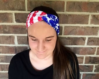 Americana 4th of July Twist Wide Spandex Headband