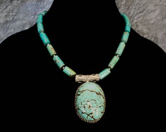 Genuine Barrel Turquoise with Huge Turquoise Pendant in sterling Silver Necklace.