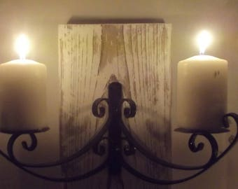 Pair of Candle holders,candelabra,rustic chunky wood white