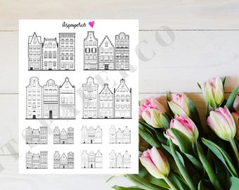 Monochrome Holland Houses - Bullet Journal Stickers - Planner Stickers - Decorative Stickers