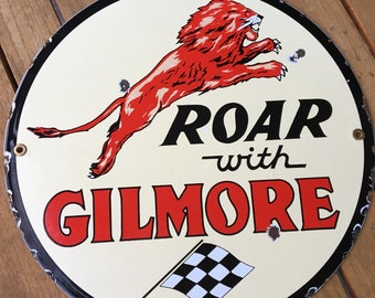 Roar with Gilmore Gas Porcelain Sign