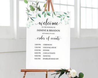 Printable Order Of Events Welcome Sign Template, Wedding Signage, Event Sign,Custom Wedding Sign,Editable PDF Instant Download #E031