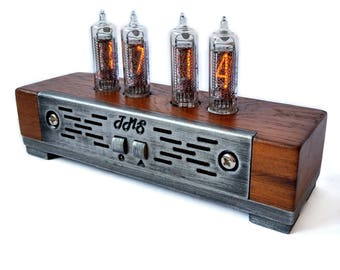 Nixie Clock IN-16, Wooden Nixie Tube Clock With 4 Digits, Nixie Clock in Wooden Case, Oak Clock With Pendulum Effect
