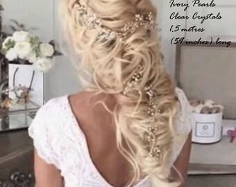 Hair Vine - Super Extra Long Pearl Hair Vine 0.45-1,5 meters - Bridal Hair Vine - Bridal  Wedding Pearl Crystal Hair Vine - SALE - 50% OFF