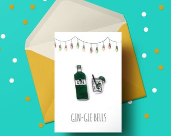 Gin-gle Bells Christmas Card - Gin, gin and tonic, gin lover gift, gin gift, gin print, christmas card handmade, christmas card pack