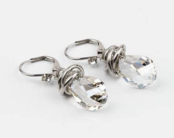 drop earrings, Swarovski Crystal, stainless steel