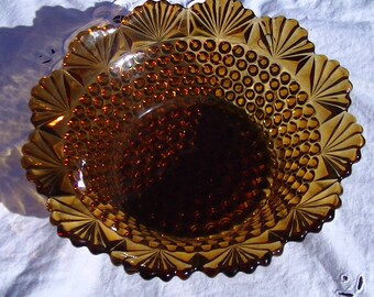 Vintage Amber Glass Bowl, dew drops and fan design