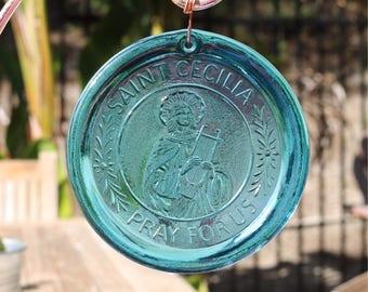 Saint Cecilia Pressed Glass Suncatcher