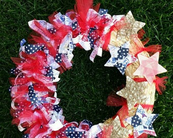 Fourth of July/Independance Day/ Patriotic/Red, White, Blue and Straw Rag Wreath
