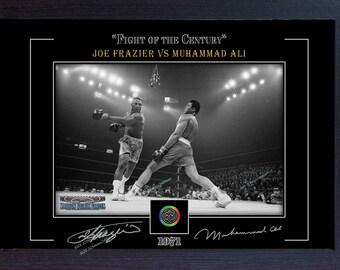 Muhammad Ali vs Joe Frazier photo poster signed autograph Framed (MDF) 006