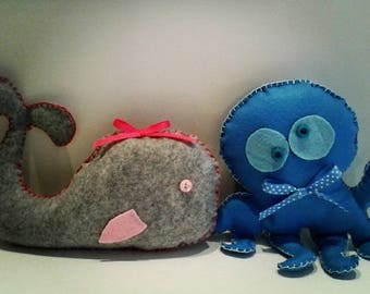 Cuddly toys for children in the hand stitched felt