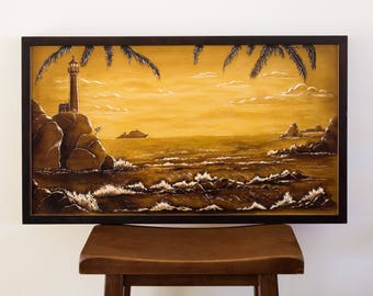 Lighthouse, Wood Carving Wall Art, Wood Wall Art, Gift, Original Painting