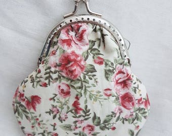 Small Ditsy Pretty Cream and Pink Floral Coin Purse/Change Purse