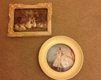 2x 1950s framed vintage ballerina prints room decor