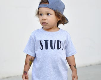 Kids STUD grey and black boys graphic t shirt