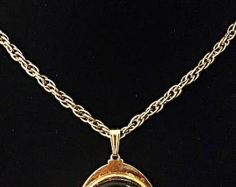 SALE Vintage AVON gold tone black cameo necklace