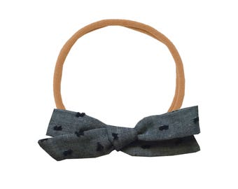 Schoolgirl Bow or Pigtail Set /// Navy Chambray Swiss Dot