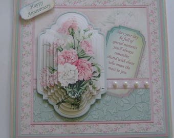 3D Pyramage Vintage Pink Carnations Birthday Card, Anniversary Card, Special Mum, Special Friend. Card with Verse