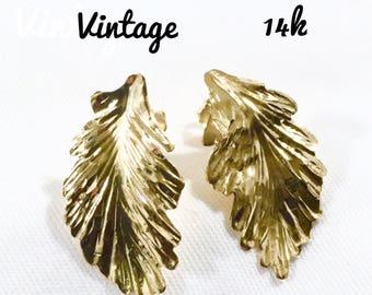 14k Leaf Earrings  V-day  SALE
