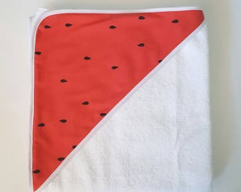 Hooded towel in organic cotton and bamboo watermelon sponge