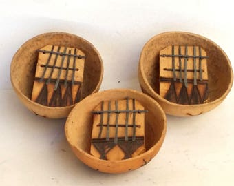 African 5 Keys Kalimba Mbira Thumb Piano Instrument Gourd Hand Craft Pyrography Artwork Nos