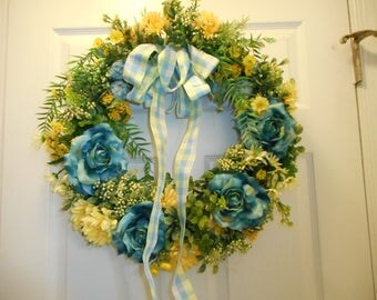Blue/Yellow Floral Wreath