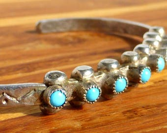 Sterling Silver and Turquoise Hand Hammered Petit Point Snake Eye Bracelet