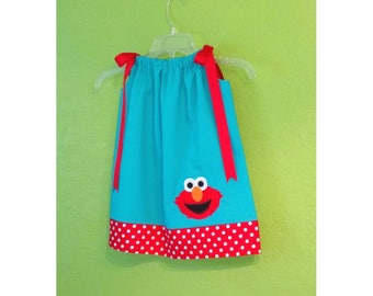 Elmo Pillowcase Dress // Elmo Outfit // Elmo Birthday Dress // Elmo Party Dress // Toddler Dress // Elmo Outfit // Turquoise and Red