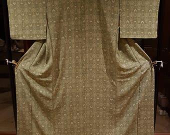 Shoken Silk Komon Kimono - Cultural Prints on Olive Green