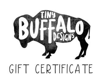 Tiny Buffalo Designs Gift Card, Custom Portrait Gift Certificate, Portrait Gift Card, Custom Illustration, Family Portrait