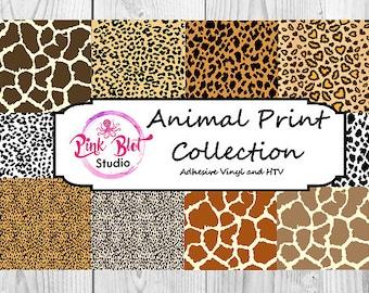 Animal Print Patterned vinyl, custom printed vinyl, adhesive vinyl, heat transfer vinyl, printed HTV flat or glitter OR ADHESIVE Giraffe