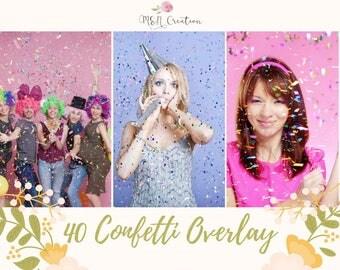40 Confetti Overlays, Blowing Confetti Photoshop Overlays , Wedding Birthday Overlays, Glitter Photography Photo Effect Digital Backdrop