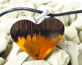 Heart shaped pendant, Handcarved pendant, Epoxy resin, , Natural wood pendant, Unique pendant, Glass jewelry, Wood resin gift