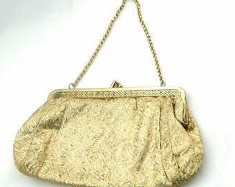 Gold Lamé Fabric Evening Bag, With Filigree Frame • Vintage 1960s