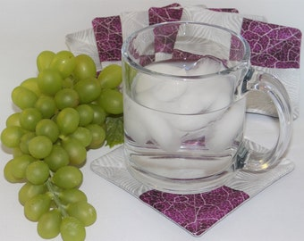 Purple & silver fabric coasters (set of 6)