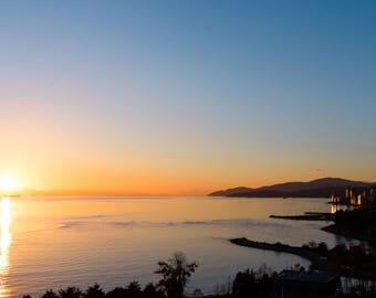 Pacific Ocean Sunset Photo, Calming Photography, Seascape Photo, Vancouver Coast Nautical Art Print, Blue Yellow Orange- Vancouver Sun