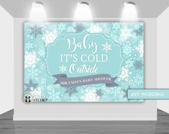 DIGITAL Printable Backdrop Winter Wonderland   Winter Baby Shower  Backdrop   Customizable   Any Wording   You Print Your Files
