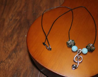 Skull & Music Note Blue Necklace