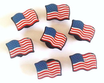 2 pins clips shoe charms USA American flag shoe, crocs or any other decoration garment bag