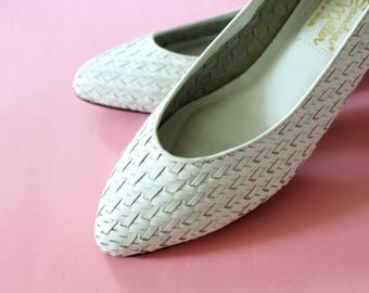 80s White Woven Leather Almond Toe Flats Size 8 - 9 or EUR 39 - 40