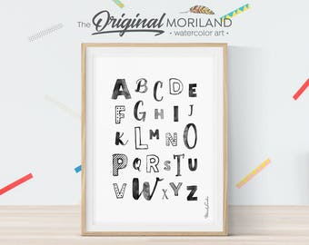 Alphabet Wall Art, Alphabet Print, ABC Letters, Kids ABC Poster, Alphabet Poster, Alphabet Black and White, Nursery Decor, Alphabet Letters