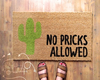 No Pricks Allowed Doormat - Cactus Doormat - Door Mat - Cactus
